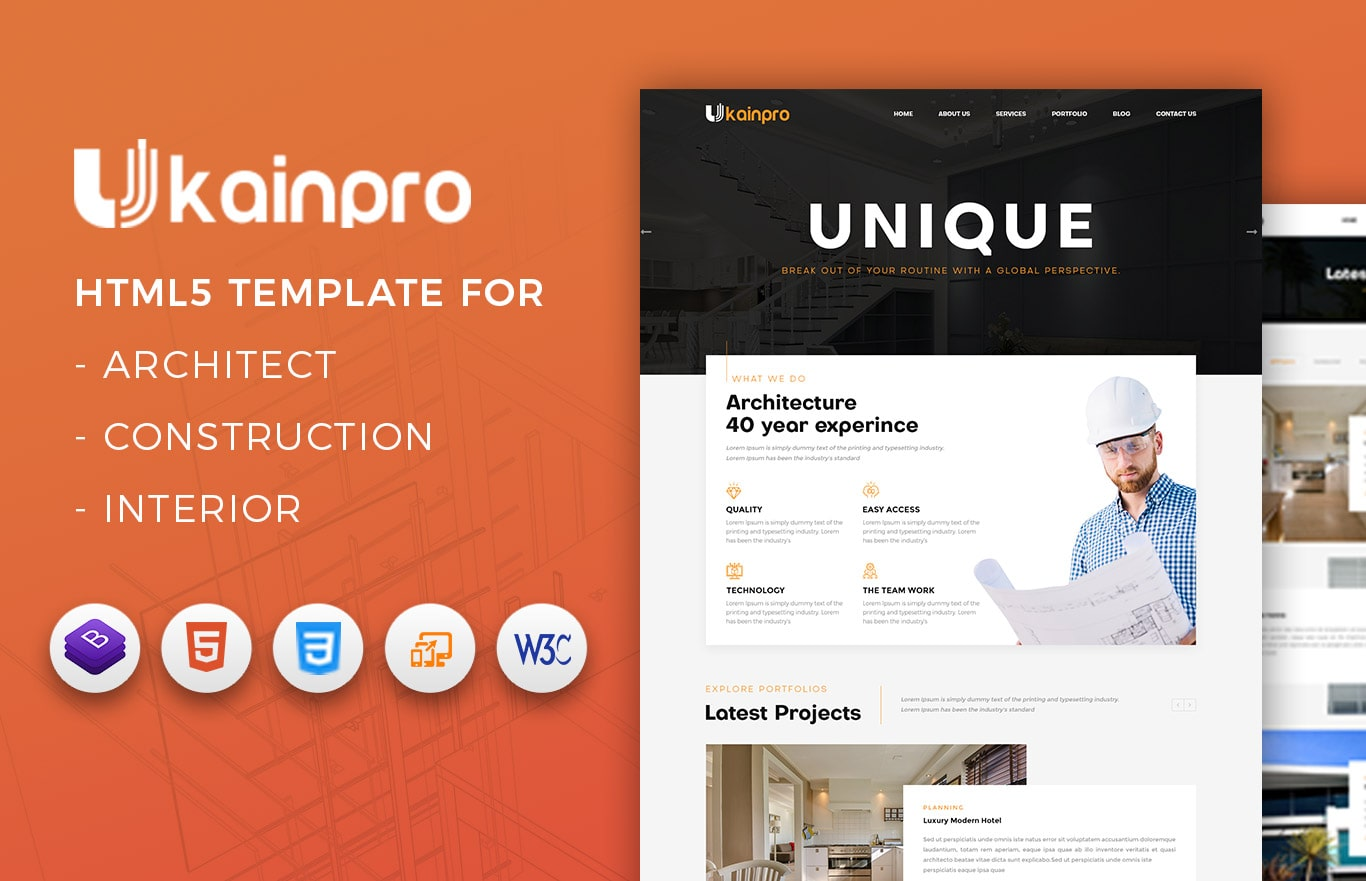 ukainpro interior design and architecture portfolio html template