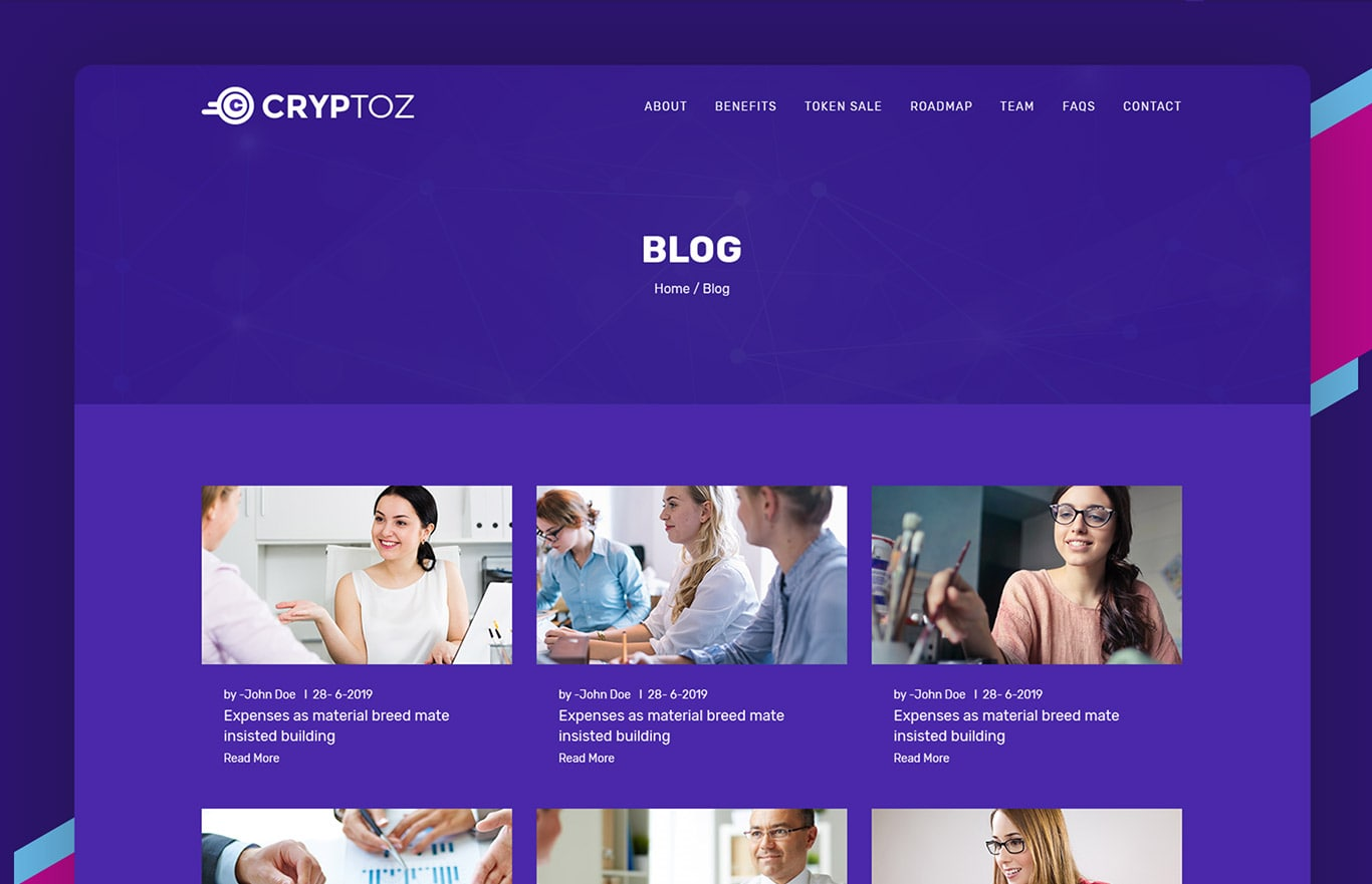 Cryptoz – ICO & Crypto Currency HTML Template
